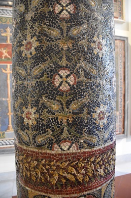 Detail of an intricate mosaic on a column.
