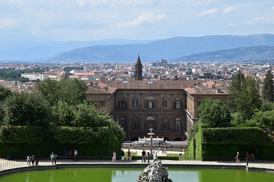 A view of the city and Pitti Palace from halfway up the steps of Boboli Gardens on a very hot day.