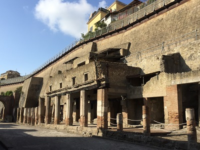 The back of ancient Herculaneum. Up above is the modern city of Ercolano.