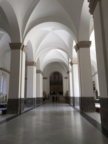 The grand entrance of the Archaeological Museum in Napoli.
