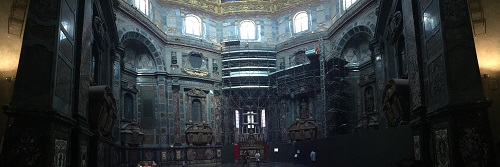 A panoramic view of the Medici Chapel's interior.