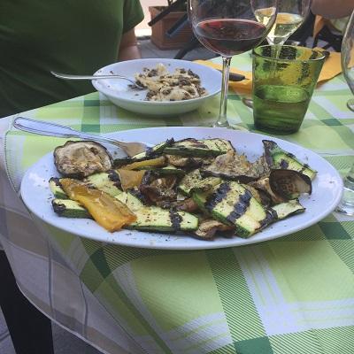 Grilled vegetables.