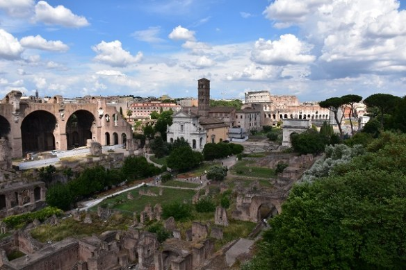 A view from the top of the Forum looking toward the entrance.