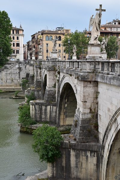 On the other side of the Ponte Sant' Angelo Bridge.