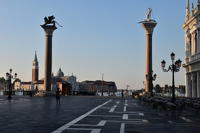 Only early in the morning can you get a people-less view off of Piazza San Marco.