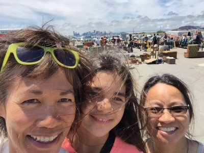 Up bright and early for a Girls' Day at the Alameda Flea Market - our group selfie with the San Francisco skyline in the background.