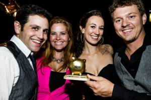 Celebrating winning the Cinematography award at the 2013 No Budget Film Festival, left to right, We, Seahorses actress Lexi Marman and her husband Justin, Anna, and Ruan.