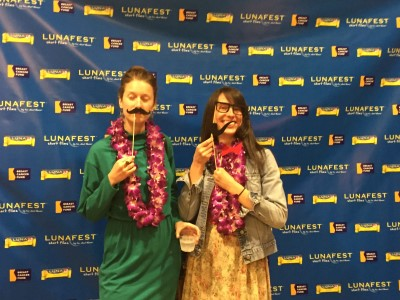 Last year's guest filmmakers, Katherine Gorringe and Emily Fraser, at the photo booth.