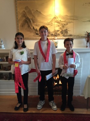 Isabella, Wyatt, and Dylan - ready to sell, sell, sell those raffle tickets at the VIP event.