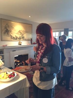 Filmmaker Anna Schumacher enjoying the food at the VIP event.