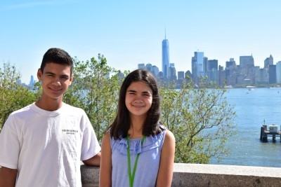 My teenagers with Manhattan in the background (photo by David).