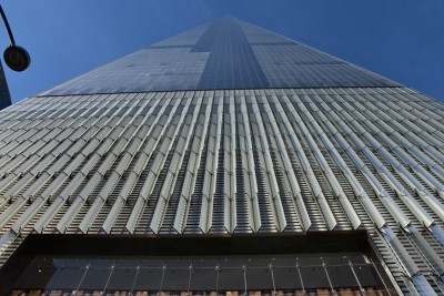 Close-up of the lower part of the new World Trade Center tower (photo by David).