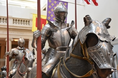 Knights on horseback in the Arms and Armor Hall (photo by David).