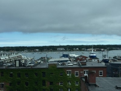 My sixth-floor room with a view at the Hyatt Place, overlooking Casco Bay.