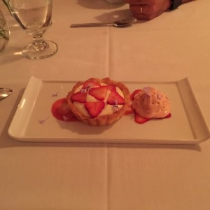 Okay, twist my arm. I'll order dessert - a strawberry tart with strawberry ice cream.