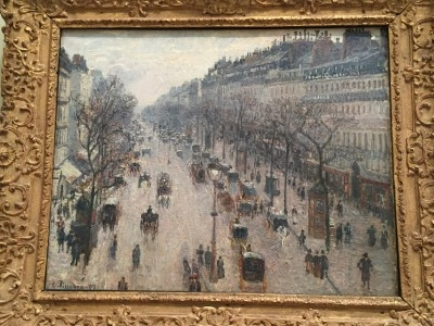 The Boulevard Montmarte on a Winter Morning (oil of canvas), 1897, by Camille Pissarro.