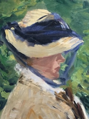 Close-up of the brushstrokes of Madame Manet.