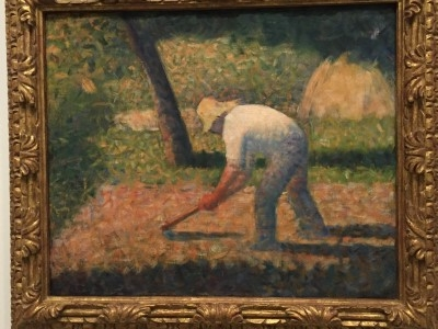 Peasant with Hoe (oil on canvas), 1882, by Georges Seurat.