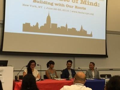 Karla Garcia, Matt Ortile, and Jhett Tolentino respond to moderator Alexandra Thomas's questions.