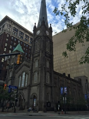 Old Stone Church, an 1855 Presbyterian Church, is the oldest church in the Public Square.