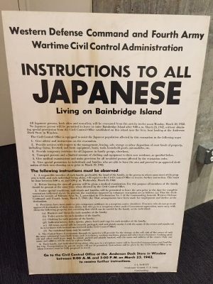 Poster instructing local Japanese Americans of mandatory internment.