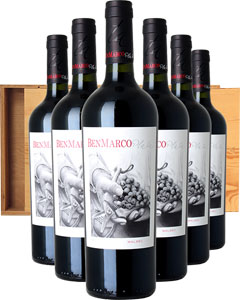 Ben Marco Malbec Six Bottle Wine Gift in Wood 6 x 75cl Bottles