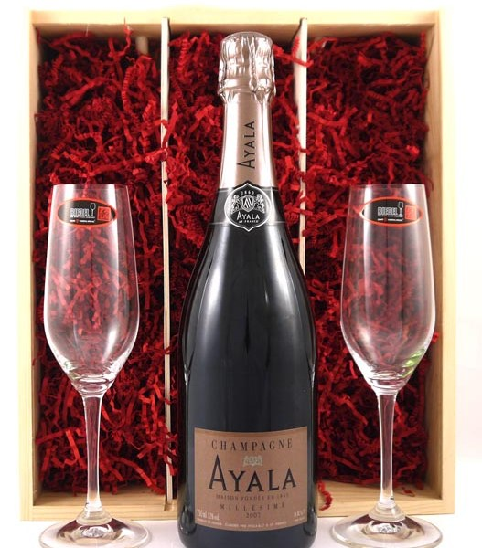 2007 Ayala Vintage Champagne and two Crystal Champagne Glasses 2007