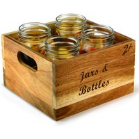 Baroque Wooden Display Crate Set with Drinking Jars