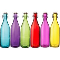 Giara Coloured Glass Swing Top Bottles 1ltr (Set of 6)