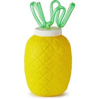 Plastic Pineapple Cup with Krazy Straw 26.4oz / 750ml (Case of 24)