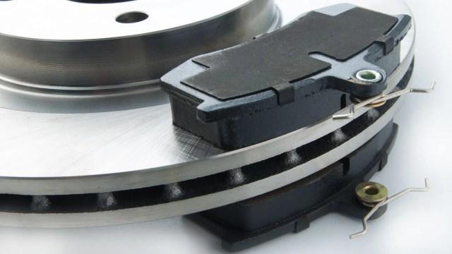 Brake pads on rotors.