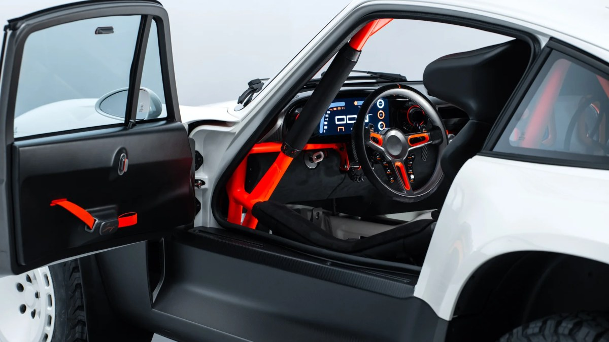 Photo of the driver side interior of the Porsche 911 Safari ACS redesigned by Singer Vehicle Design.