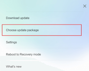 xiaomi choose update package