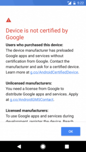 Fix Device is not certified by google problem