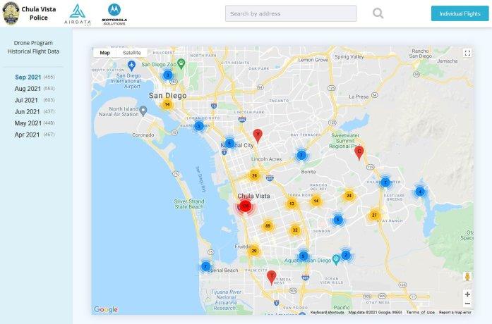 Chula Vista Police Department drones map airdata