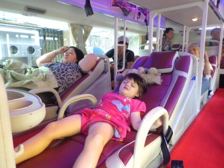 For Westerners, sleeper buses are only comfortable if you're three, like the model in this picture.