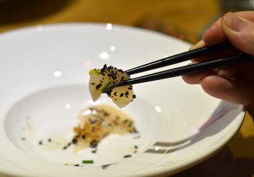 First course: sashimi of hokkaido scallop with shio kombu and truffle infusion