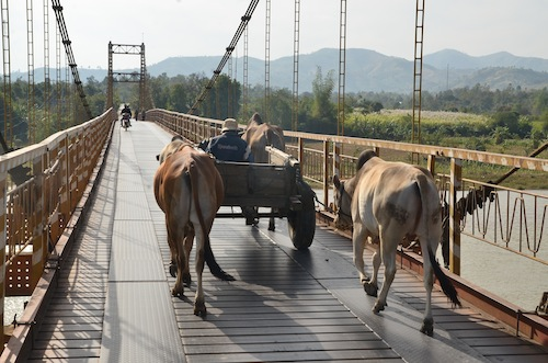 Mid-morning traffic jam on the suspension bridge outside Kon Tum