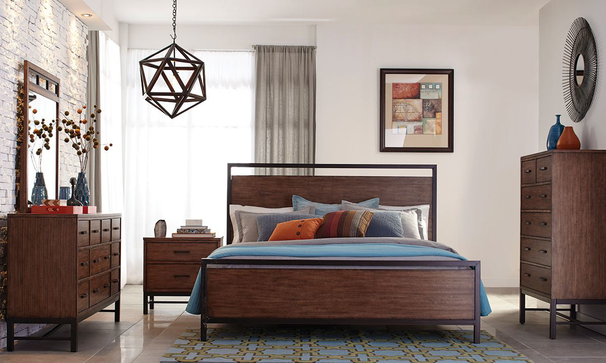 klaussner affinity rustic industrial king panel bedroom