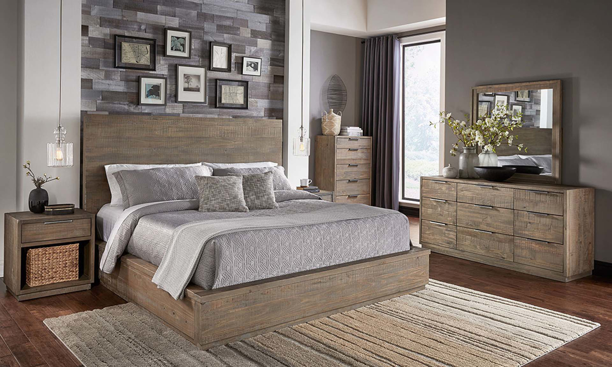 a america grey harbor solid pine contemporary king bedroom ii