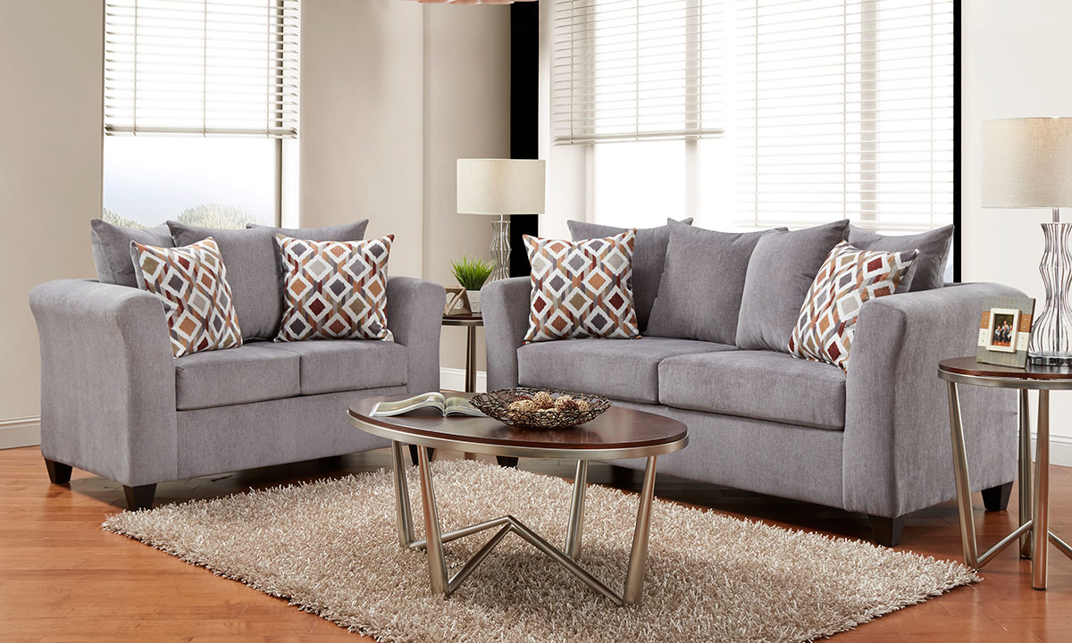 Rue 2 Piece Sofa Set In Gray The Dump Luxe Furniture Outlet