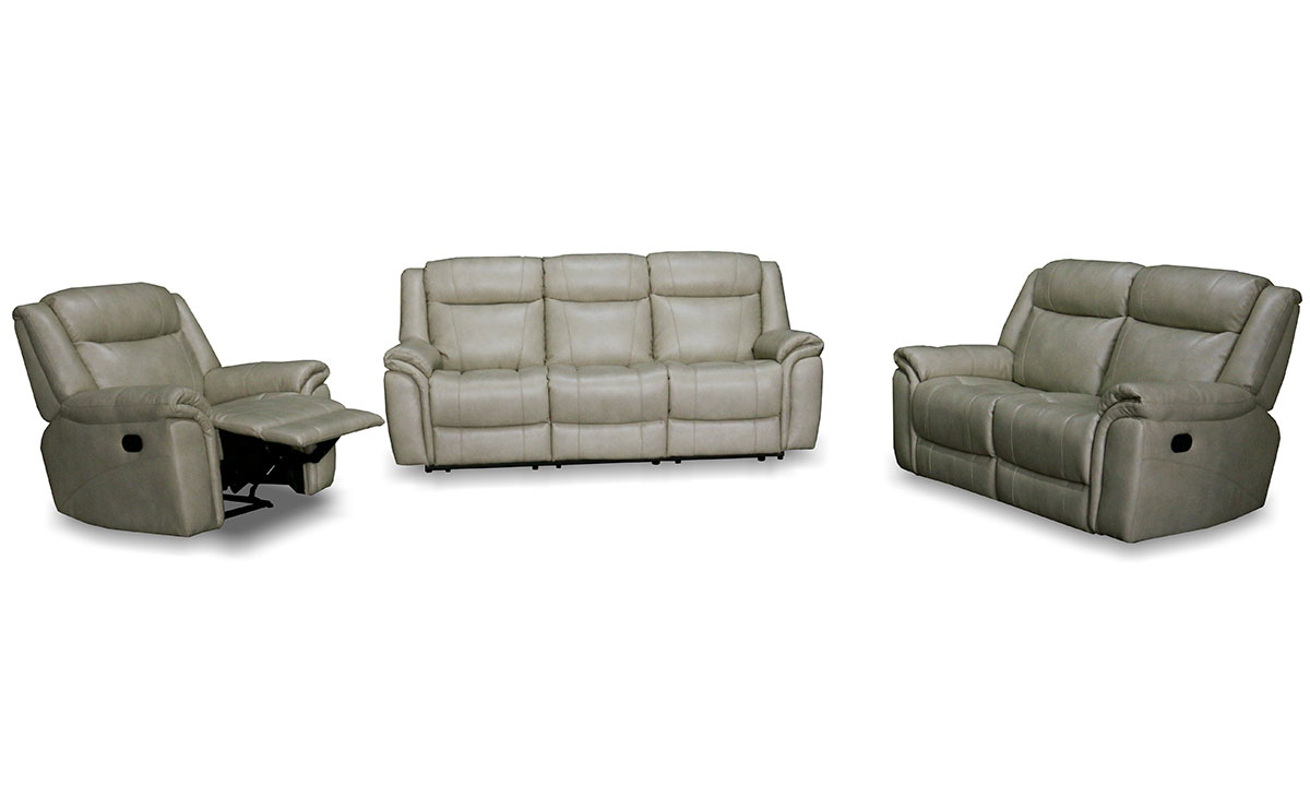 Shell Beige Top Grain Leather Reclining 3 Piece Living Room Set