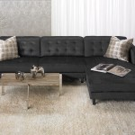 Contemporary Tufted Sofa With Oversized Chaise In Dark Grey
