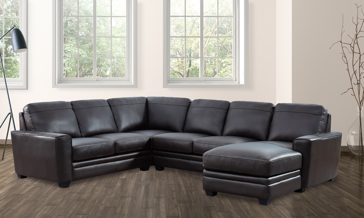 espresso brown leather 3 piece chaise sectional