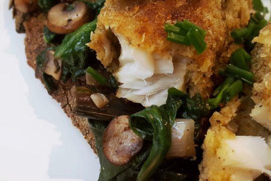 fish finger sandwich with wasabi crema