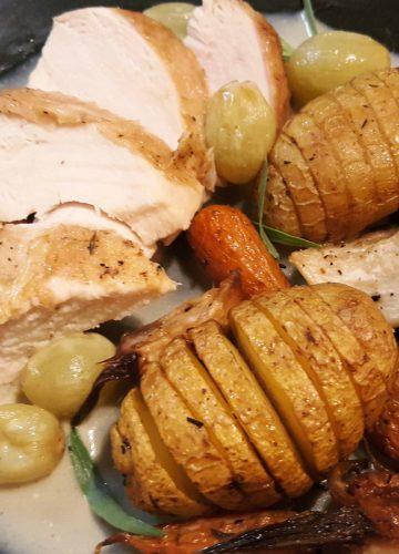 Chicken veronique with roast vegetables
