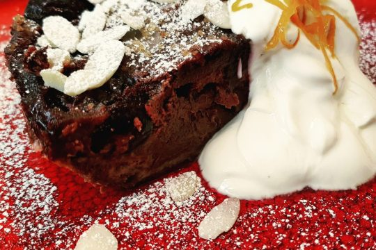 Cherry and chocolate clafoutis