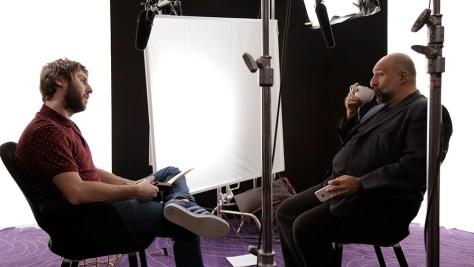 James interviewing Omid Djalili (Courtesy of James Mullinger)