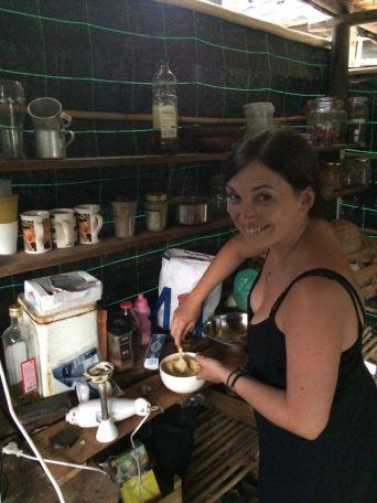 Anna Conley making Humus making