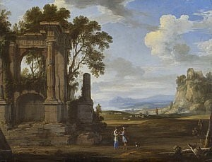 a classical landscape with Judah and Tamar - Pierre Patel